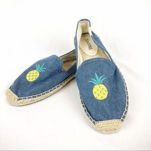 Soludos Espadrille Flats Blue Denim Pineapple US 7